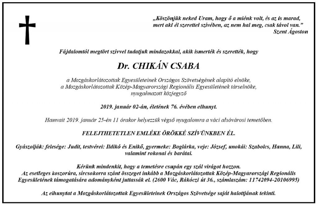 Chikan Csaba gyaszjelentoje